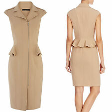 KAREN MILLEN Camel Tailored Biker Evening Party Pencil Tuxedo Peplum Dress 14 UK