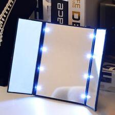 8 LED Lights Tri-fold Make Up Mirror Cosmetic Portable Travel Compact Pocket UK