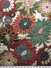 Drapery Upholstery Fabric Woven Layered Jacquard Lg. Scale Floral - Beige Multi