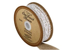 Eleganza Overlaced Hessian Ribbon 26mm x 4.47yds Wedding Decor Arts Crafts