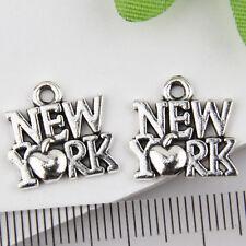 150Pcs Tibetan Silver New York Pendants Charms 14*15mm 1A1817