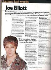 JOE ELLIOTT (Def Leppard) 'last words' UK ARTICLE / clipping