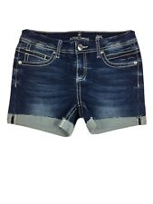 Almost Famous Stretch Frayed Cut-Off Embroidered Shorts Blue Women's Sz 7 New.