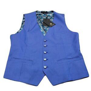 Ted Baker Men's Size 40 Blue Regular Modern Fit Debonair Waistcoat Suit Vest NWT