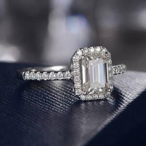 14k White Gold Hallmark 1.50 ct Emerald Diamond Engagement Ring Fine Jewellery