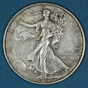 1937-S United States 50 Cents coin, Walking Liberty Half Dollar, Circulated