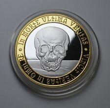 MEMENTO MORI Silver & 24ct Gold REMINDER COIN. Owl/Death Stoic/Reflection