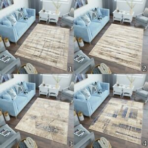Modern Abstract Rug Beige Brown Bedroom Carpet Soft Silky Pile Small Large Mat