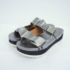 6151cb8ee2 Calvin Klein Womens Casely Platform Sandals Sz 9 Silver Metallic Buckles  Black