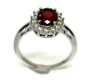 925 Silver Women's Wedding Engagement Ring Band Red Sapphire Cocktail Jewelry