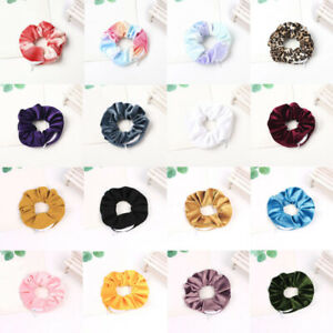 Women Velvet Zipper Solid Hair Ties Hair Ring Hair Scrunchies Ponytail Holder US