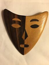 Dramatic Marquetry Face Mask Wood Brooch Pin Wearable Modern Art