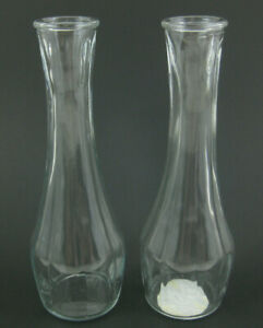 """Lot of 2 Vintage Indiana Clear Glass Bud Vase 9"""" Classico Crystal Set USA 30192"""