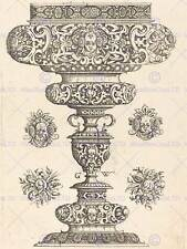 GEORG WECHTER GERMAN GOBLET DECORATED MASQUE BOUQUET FRUIT ART PRINT BB5421A
