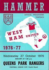 Football Programme>WEST HAM UNITED v QPR Oct 1976 FLC