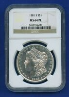 1881 S NGC MS64 PL Morgan Silver Dollar $1 US Mint 1881-S NGC MS-64 PL PQ Coin !