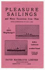 Brochure for Macbrayne's Pleasure Sailings from Oban, 1963 (C29399)