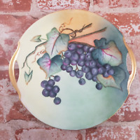 Bavaria Hand Painted Handled Porcelain Plate Gold Rim Green with Concord Grapes