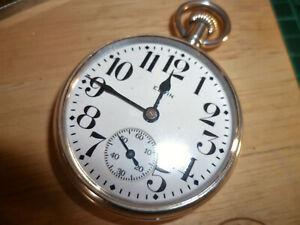 Beautiful Sterling Silver Elgin Pocket Watch 16s, 1925