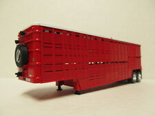 TOP SHELF 1/64 SCALE WILSON CATTLE TRAILER RED / WHITE TOP  (DCP BUD WHEELS)