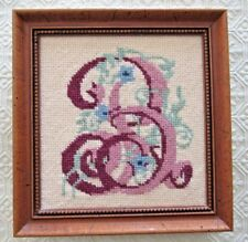 """Completed and Framed Needlepoint of Letter """"B"""""""