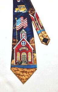 Necktie STEVEN HARRIS Blue SCHOOL TEACHER AMERICAN FLAG BUS Korea