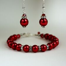 Red pearls crystal earrings chunky bracelet wedding bridesmaid bridal silver set