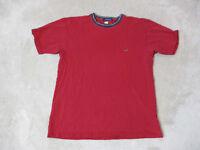 VINTAGE Tommy Hilfiger Shirt Size Adult Large Red Blue Crest Logo Cotton Mens H*