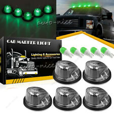 5 Cab Roof Light Marker Smoke Cover Lens Kit + Green LED for 73-87 Chevy GMC C/K