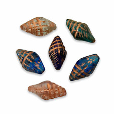Czech glass conch seashell beads 12pcs shades of blue crystal with copper wash