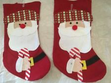 Christmas Holiday Two Santa Stockings w/Plaid Hat & Cane. Size 16""