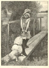 Walking the plank. Children. Dogs 1893 antique ILN full page print