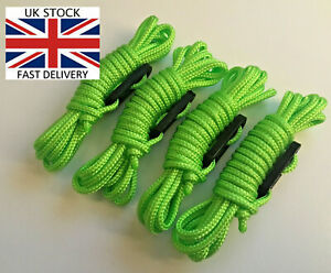 HI VIS FLUORESCENT GREEN Guy Line Ropes PACK Paracord Tent Camping yellow 4 X 3m