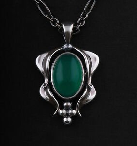 GEORG JENSEN Sterling Pendant Of The Year 2015, Green Agate. LIMITED EDITION.