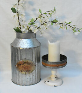 Galvanized Metal Flower Bucket w Galvanized Metal Candle Pan 2pc Paired Set New