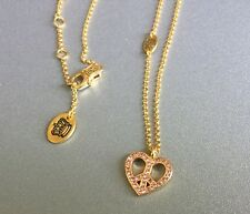 Juicy Couture Gold Necklace with Pink Crystal Heart Peace Sign