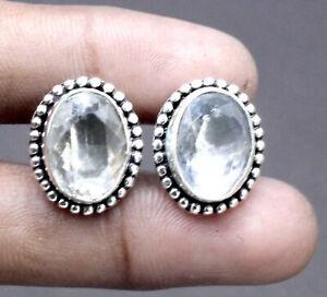 "Handmade 925 Sterling Silver White Topaz Gemstone Jewelry Cuff Links Size-1"""