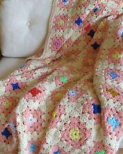 Vintage Retro Wool Throw Blanket Afghan Pretty Pink & White Granny Squares 44x68