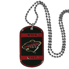 "minnesota wild licensed nhl hockey necklace dog tag 26"" chain"