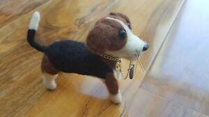 Beagle Dog Needle Felted Unique Handmade Animal Red-Pinapple Gift Present