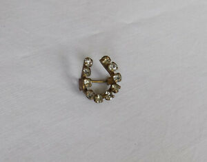 Beautiful Small Vintage Lucky Horseshoe Brooch with Sparkling Stones