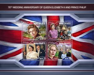 Maldives 2018 MNH Queen Elizabeth II 70th Wedding Anniv 4v M/S Royalty Stamps