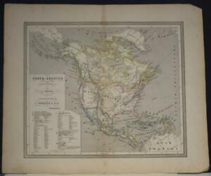 NORTH AMERICA 1860 OOMKENS & ZOON ANTIQUE ORIGINAL COLORED LITHOGRAPHIC MAP