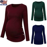 Pregnant Women Maternity Long Sleeve T-Shirt Casual Pullover Blouse Tops Tee US