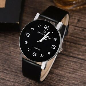 Women Black Watch Leather Band Stainless Steel   watch