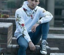 Casual Men Long Sleeve Pullover Floral Embroidery Hooded Tops Sweater Long Sleev