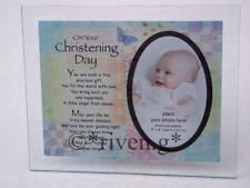 CHRISTENING PICTURE FRAME KEEPSAKE BIRTH GIFT@TREASURED GODPARENTS MEMORIES GIFT