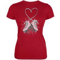 Roller Skate Heart Red Juniors Soft T-Shirt