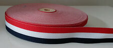 """2 yards - 22mm (7/8"""") wide RED/WHITE/NAVY DOUBLE SIDED WOVEN STRIPE RIBBON"""