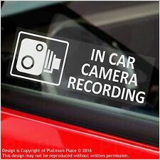 5 x In Car Camera Recording Warning Stickers-CCTV Sign-Van,Taxi,Mini Cab-30mm